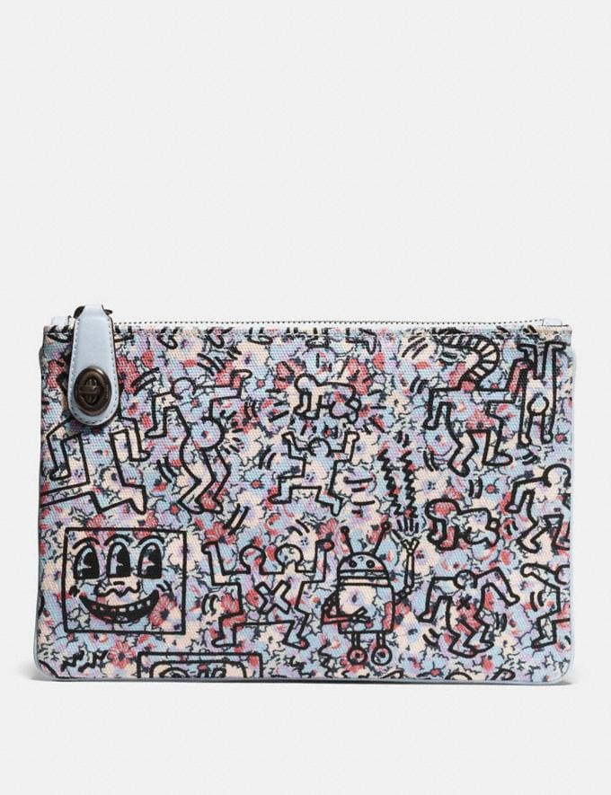 Coach Coach X Keith Haring Turnlock Pouch 26 Ice Blue/Black Copper
