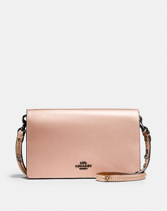 Coach Foldover Chain Clutch With Tea Rose