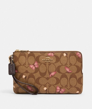 DOUBLE ZIP WALLET IN SIGNATURE CANVAS WITH BUTTERFLY PRINT