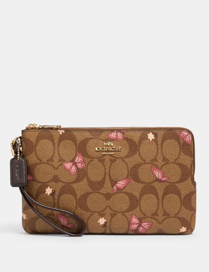 Coach Double Zip Wallet in Signature Canvas With Butterfly Print Im/Khaki Pink Multi