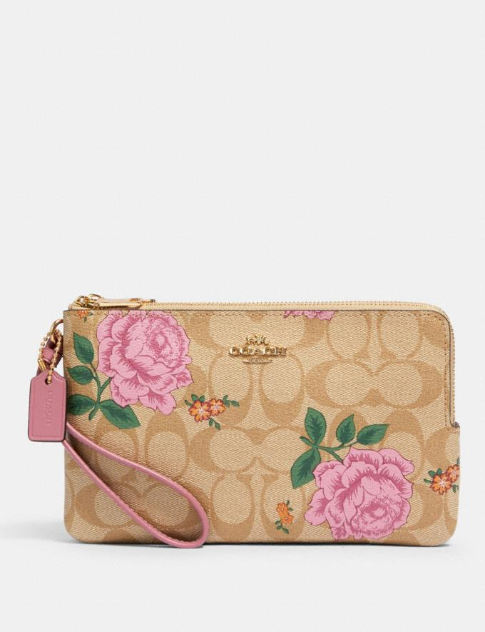 Coach Double Zip Wallet in Signature Canvas With Prairie Rose Print Im/Khaki Multi Accessories Wallets