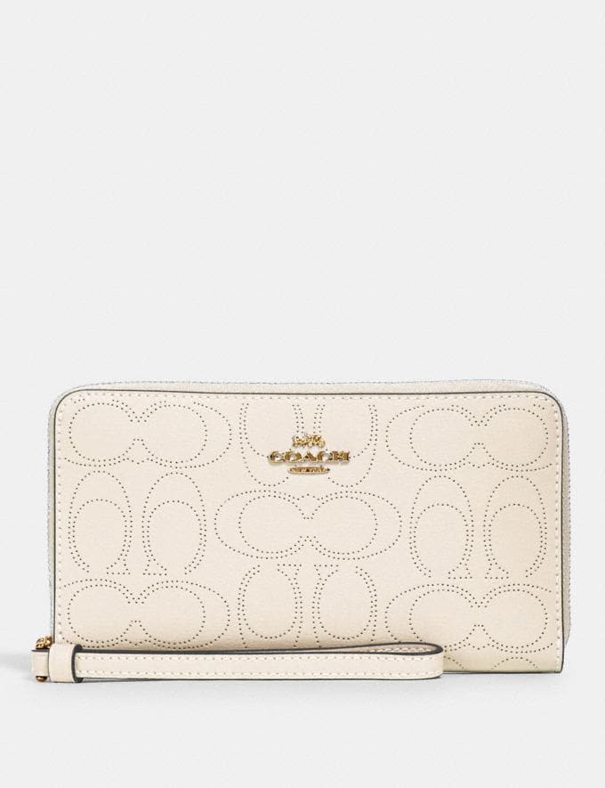 Coach Large Phone Wallet in Signature Leather Im/Chalk
