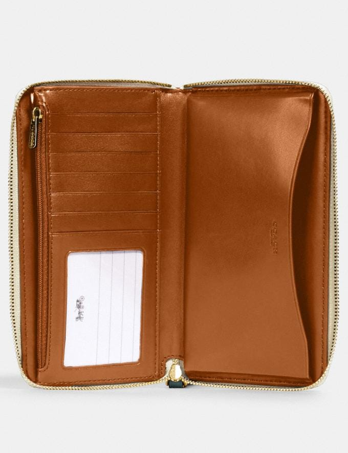 Coach Large Phone Wallet in Signature Leather Im/Chalk  Alternate View 1