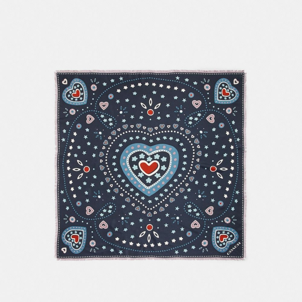 WESTERN HEART PRINT SILK SQUARE