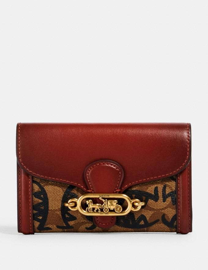 Coach Jade Medium Envelope Wallet in Signature Canvas With Rexy by Guang Yu Qb/Khaki Multi Women Wallets