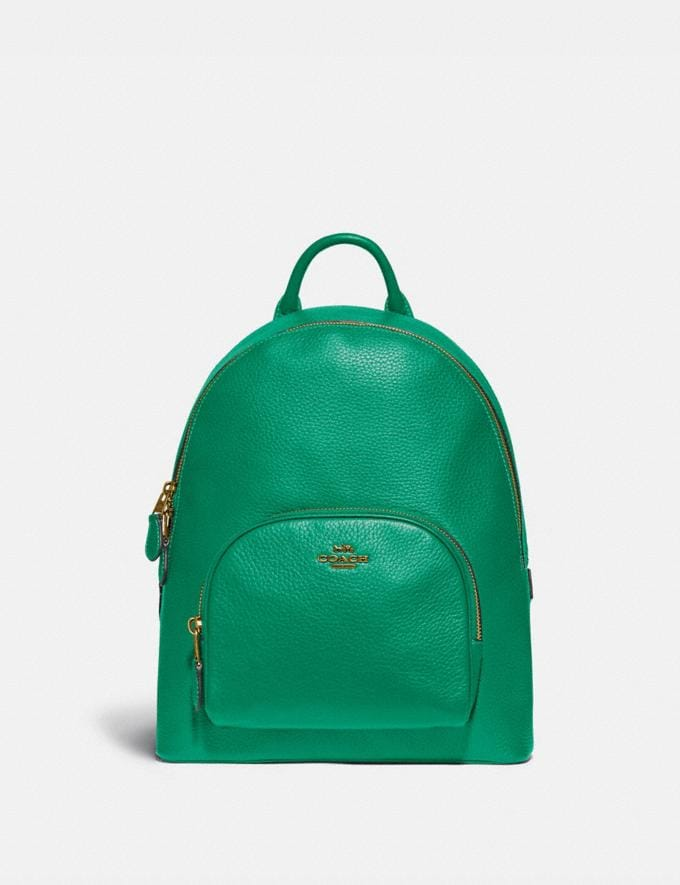 Coach Carrie Backpack 23 Brass/Green New Featured Coach Pride Collection