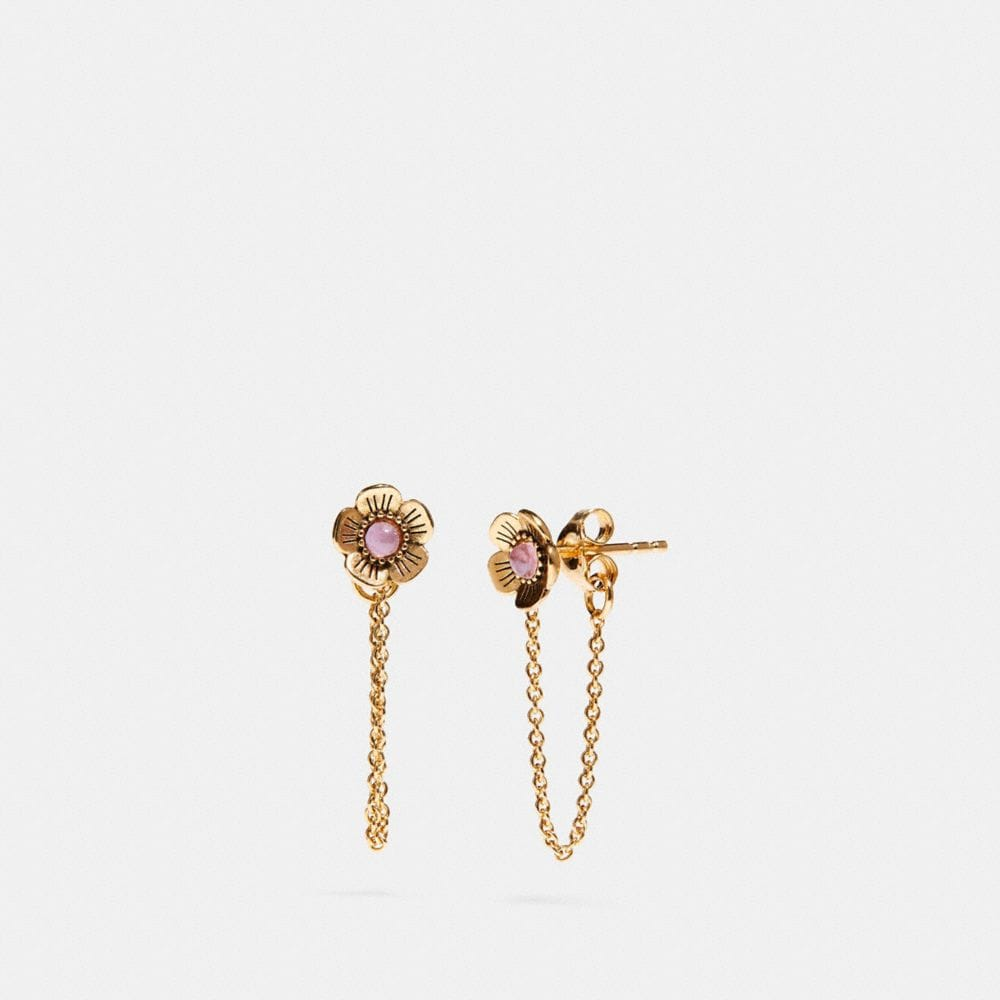 Coach Demi-Fine Tea Rose Chain Earrings