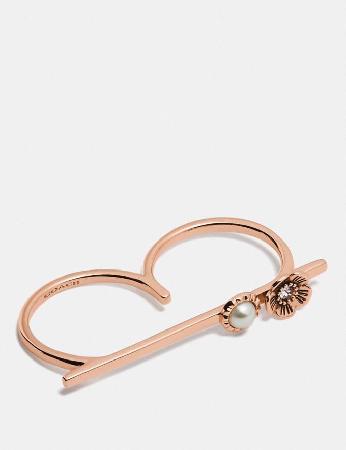 Coach Demi-Fine Sunburst Bar Ring Grey/Rose Gold Gifts For Her