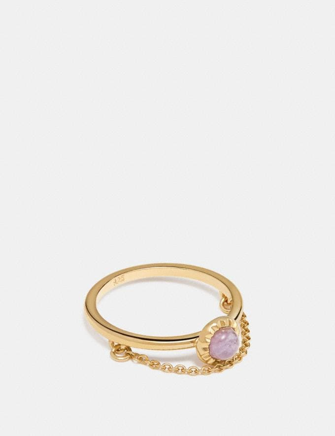 Coach Demi-Fine Sunburst Chain Ring Amethyst/Gold