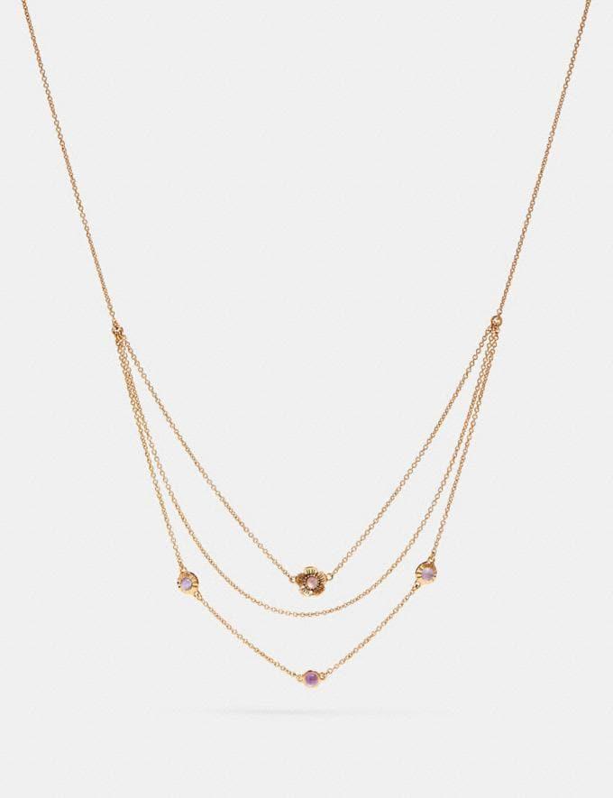 Coach Demi-Fine Sunburst Layered Chain Necklace Amethyst/Gold CYBER MONDAY SALE Women's Sale 30 Percent Off