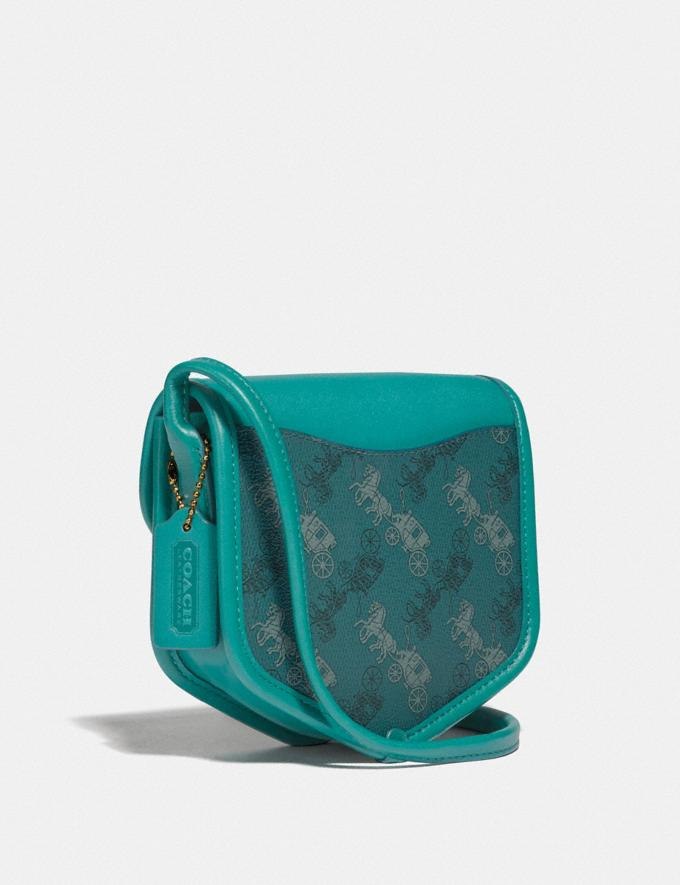 Coach Turnlock Flap Pouch 15 With Horse and Carriage Print B4/Teal Blue VIP SALE Women's Sale Bags Alternate View 1