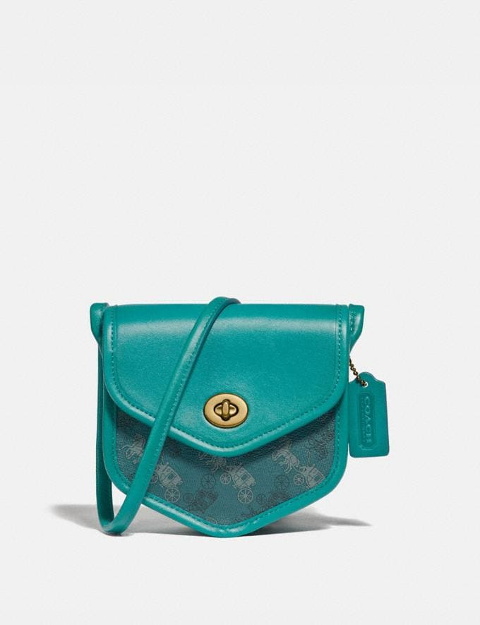 Coach Turnlock Flap Pouch 15 With Horse and Carriage Print B4/Teal Blue Women Bags Crossbody Bags