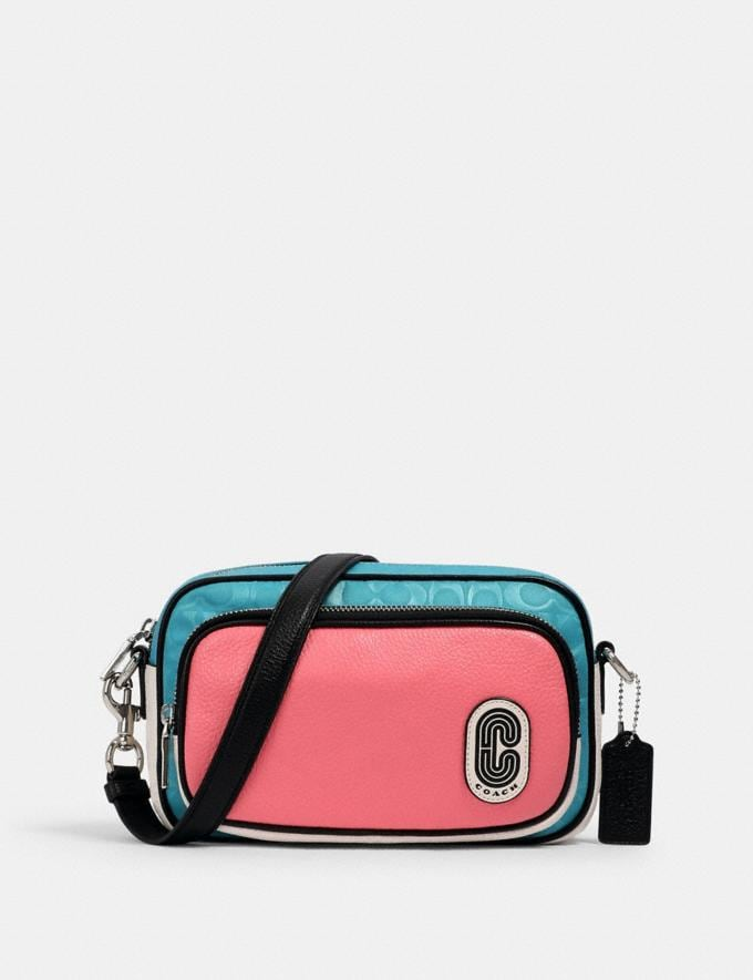Coach Court Crossbody in Colorblock Signature Nylon With Coach Patch Sv/Aqua Pink Lemonade Clearance New To Clearance