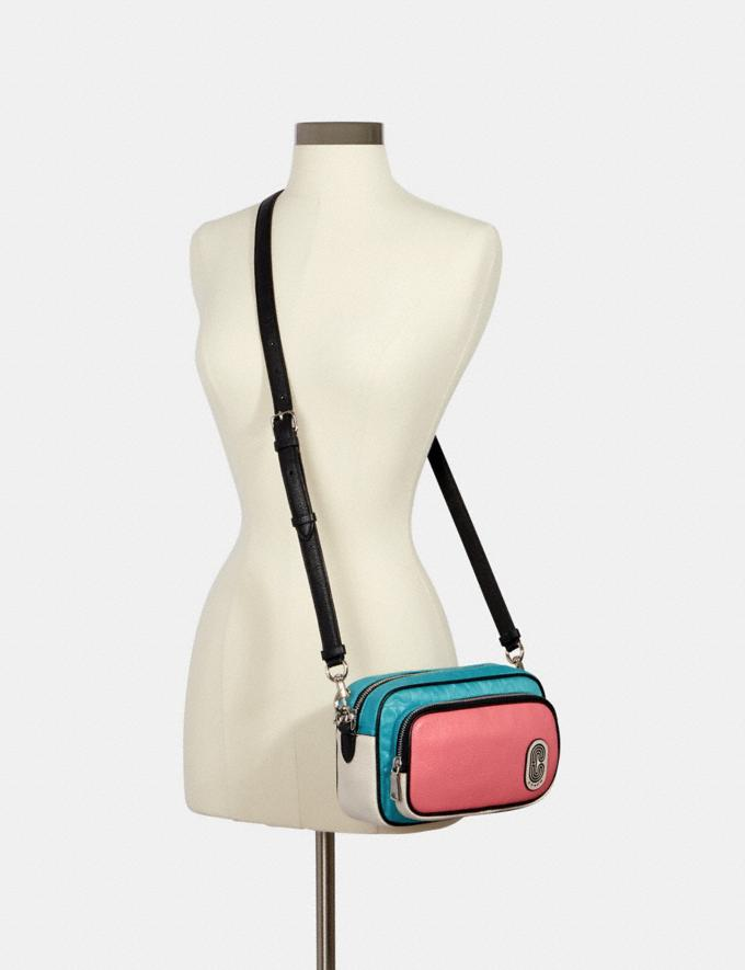 Coach Court Crossbody in Colorblock Signature Nylon With Coach Patch Sv/Aqua Pink Lemonade Clearance New To Clearance Alternate View 2