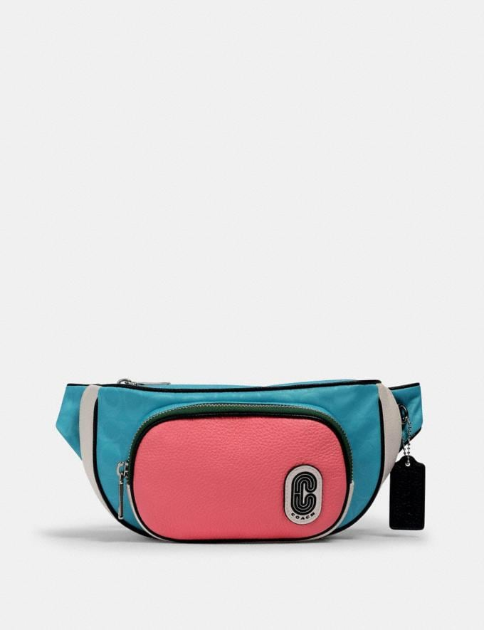 Coach Court Belt Bag in Colorblock Signature Nylon Sv/Aqua Pink Lemonade