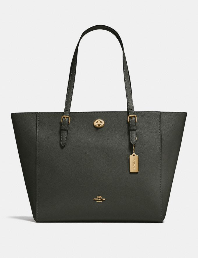 Coach Turnlock Tote Dark Olive/Brass New Featured Women New Top Picks