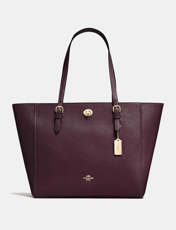 Coach Turnlock Tote Oxblood/Light Gold New Featured Women New Top Picks