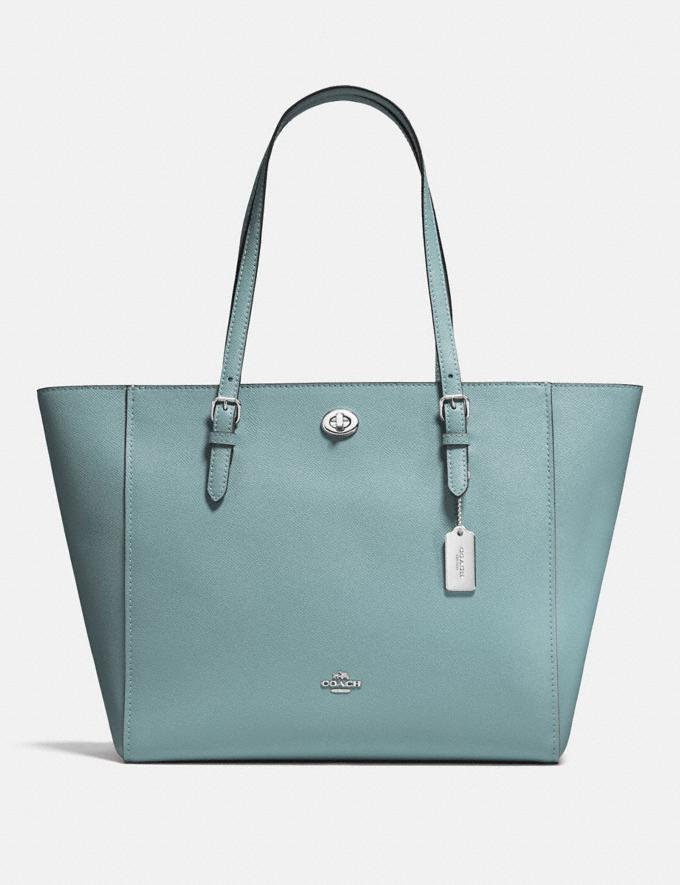 Coach Turnlock Tote Sage/Silver New Featured Women New Top Picks