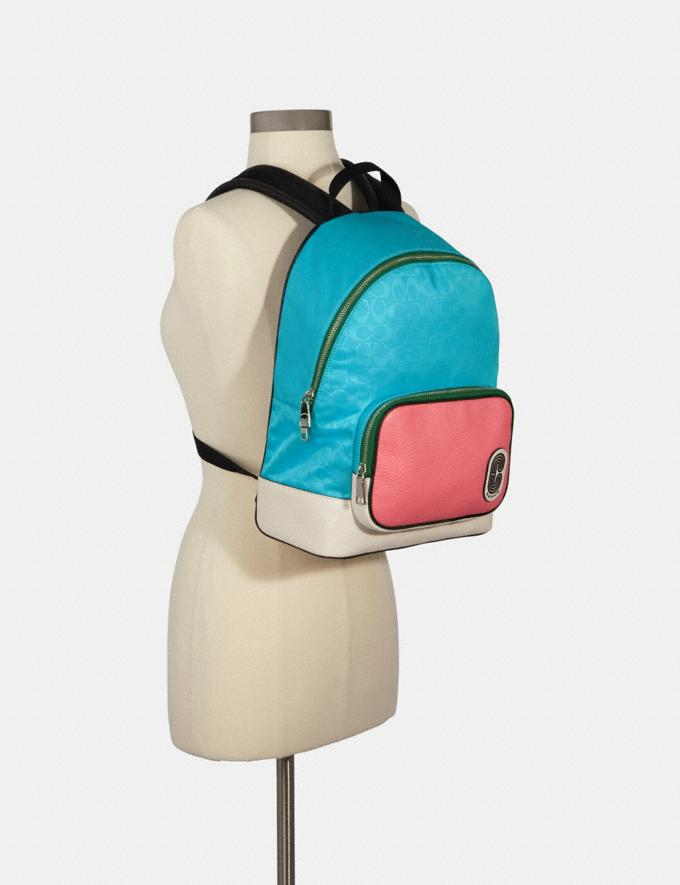 Coach Court Backpack in Signature Nylon With Coach Patch Sv/Aqua Pink Lemonade  Alternate View 2
