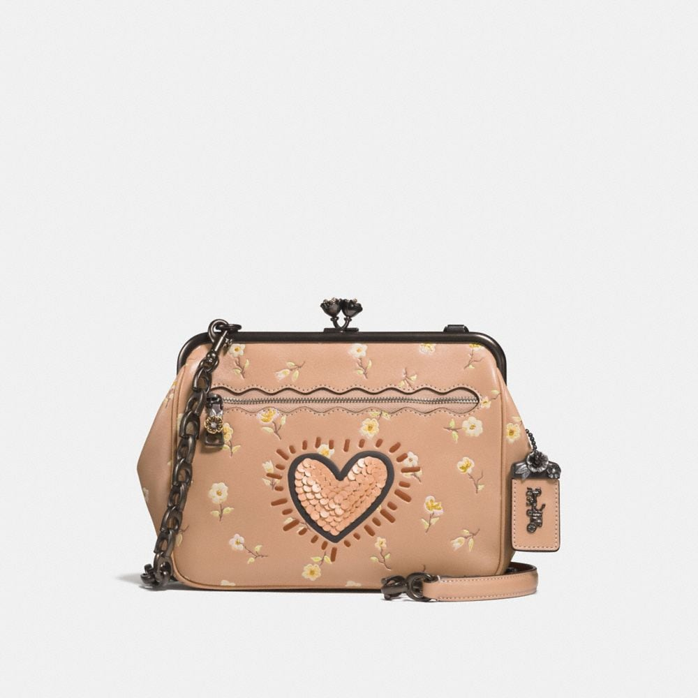 coach x keith haring kisslock crossbody with vintage prairie print