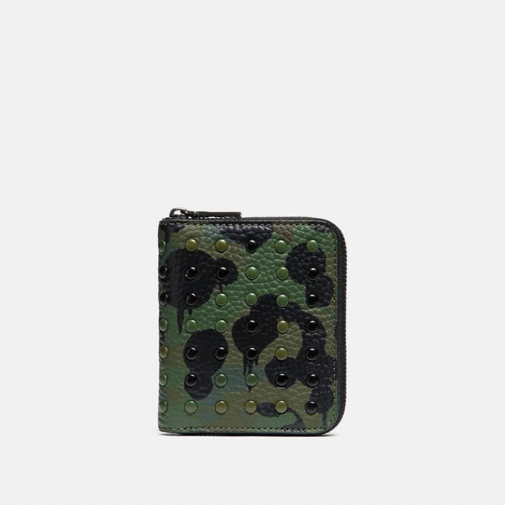 SMALL ZIP AROUND WALLET WITH WILD BEAST PRINT AND RIVETS
