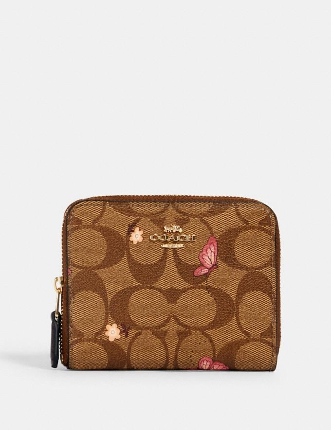 Coach Small Zip Around Wallet in Signature Canvas With Butterfly Print Im/Khaki Pink Multi