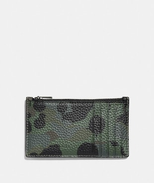 ZIP CARD CASE WITH WILD BEAST PRINT AND RIVETS