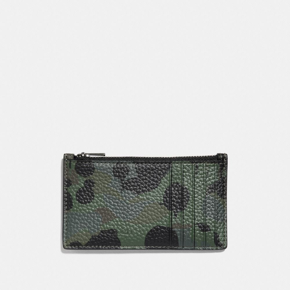 Coach Zip Card Case With Wild Beast Print and Studs