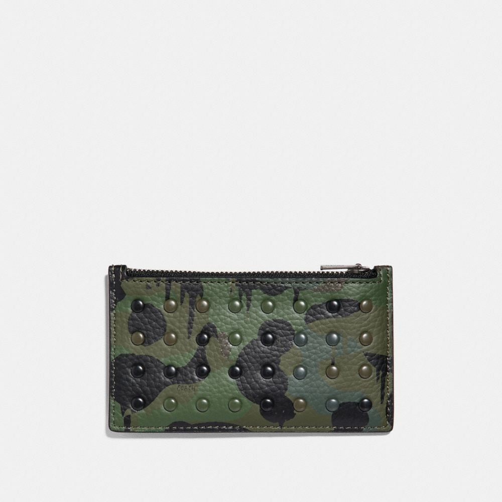 Coach Zip Card Case With Wild Beast Print and Rivets Alternate View 1