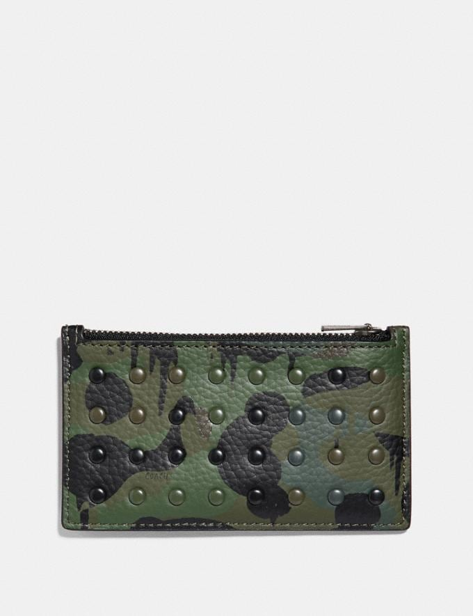 Coach Zip Card Case With Wild Beast Print and Rivets Surplus Men Wallets Card Cases Alternate View 1
