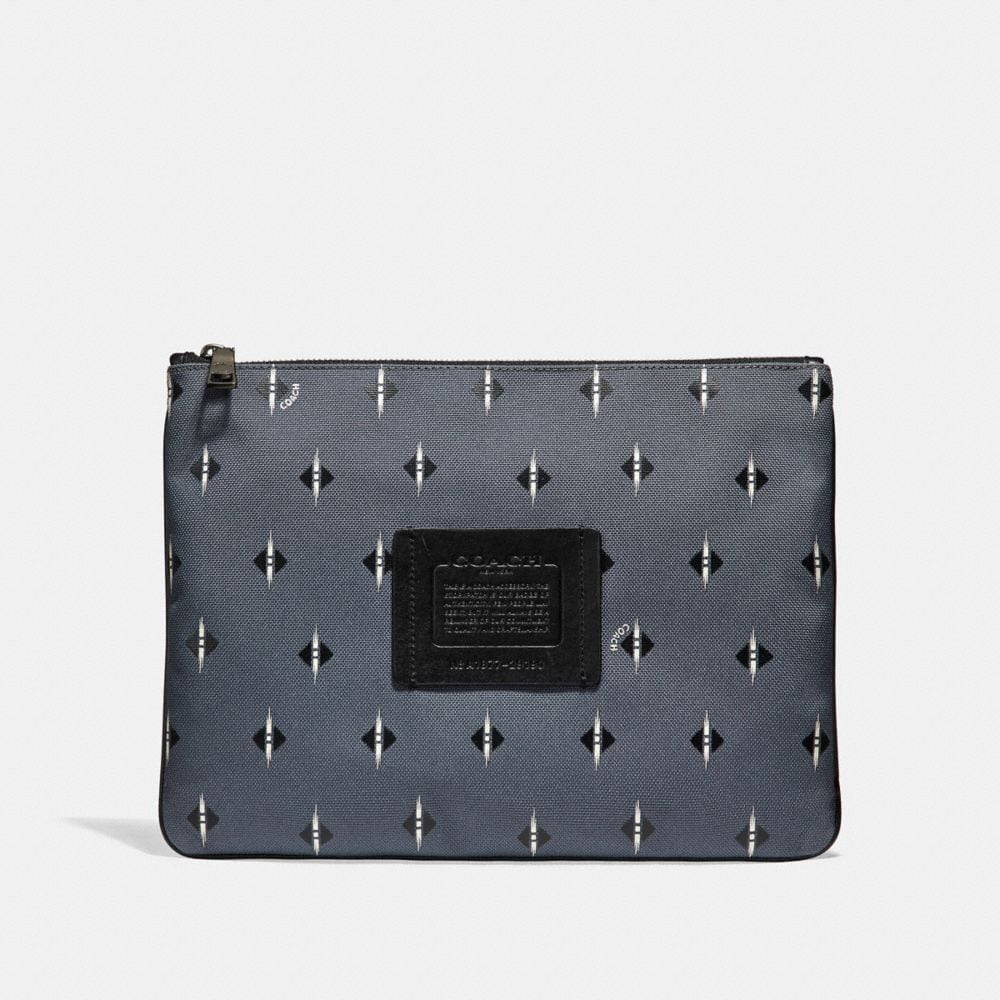 Coach Large Multifunctional Pouch in Cordura® Fabric With Ikat Geo Print
