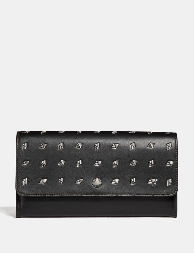 Coach Multifunctional Wallet With Dot Diamond Print Black/Chalk Men Accessories Tech & Travel