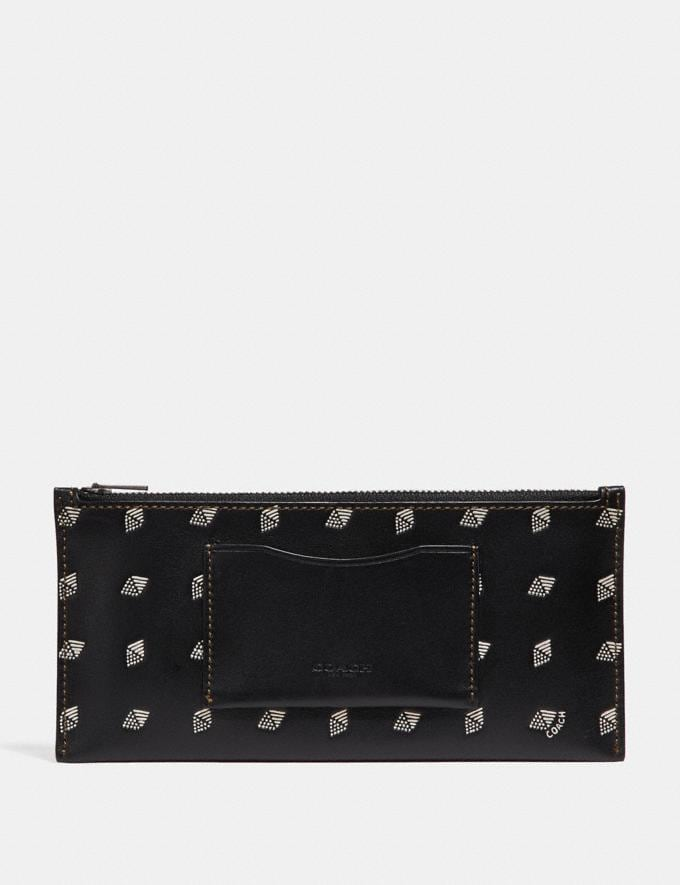 Coach Multifunctional Wallet With Dot Diamond Print Black/Chalk Men Accessories Tech & Travel Alternate View 3