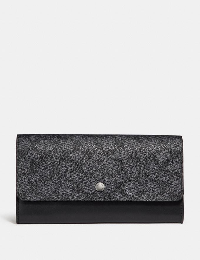 Coach Multifunctional Wallet in Signature Canvas Charcoal