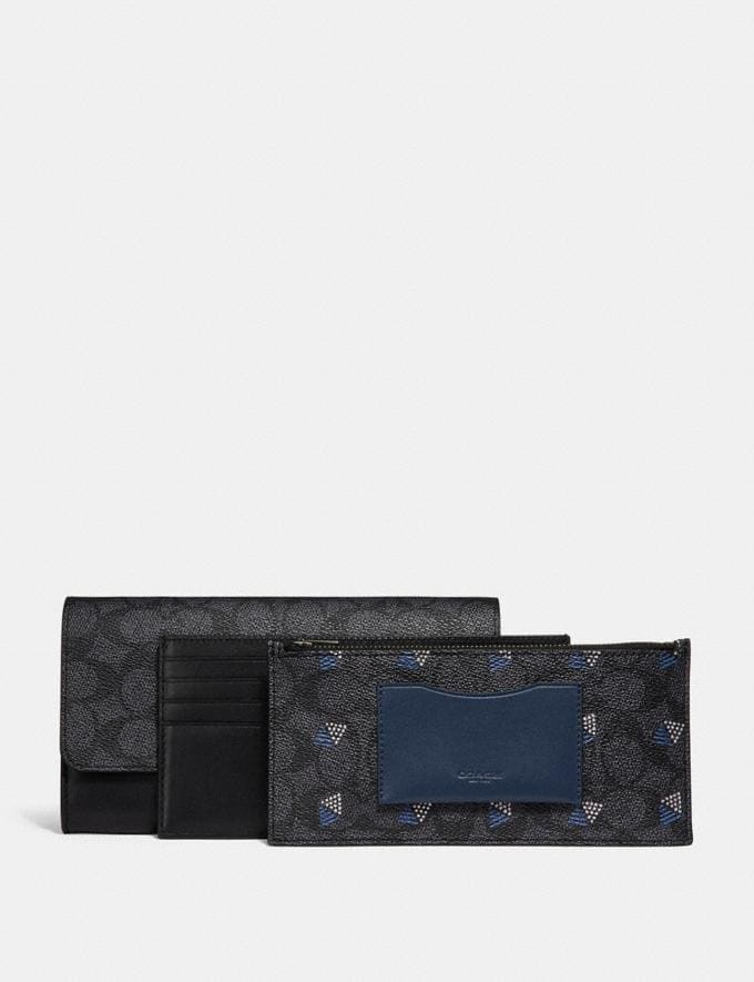 Coach Multifunctional Wallet in Signature Canvas Charcoal New Featured Signature Styles Alternate View 1