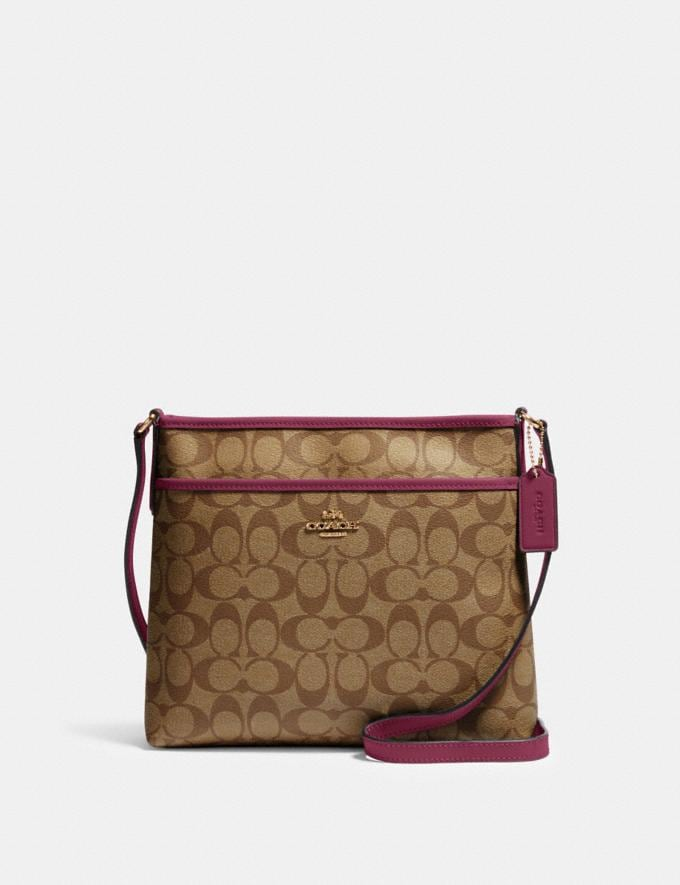 Coach File Crossbody in Signature Canvas Im/Khaki Dark Berry Bags Bags Crossbody Bags