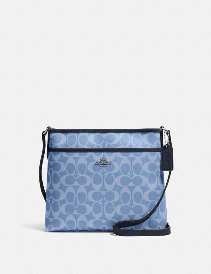 Coach File Crossbody in Signature Canvas Sv/Light Denim Bags Bags Crossbody Bags