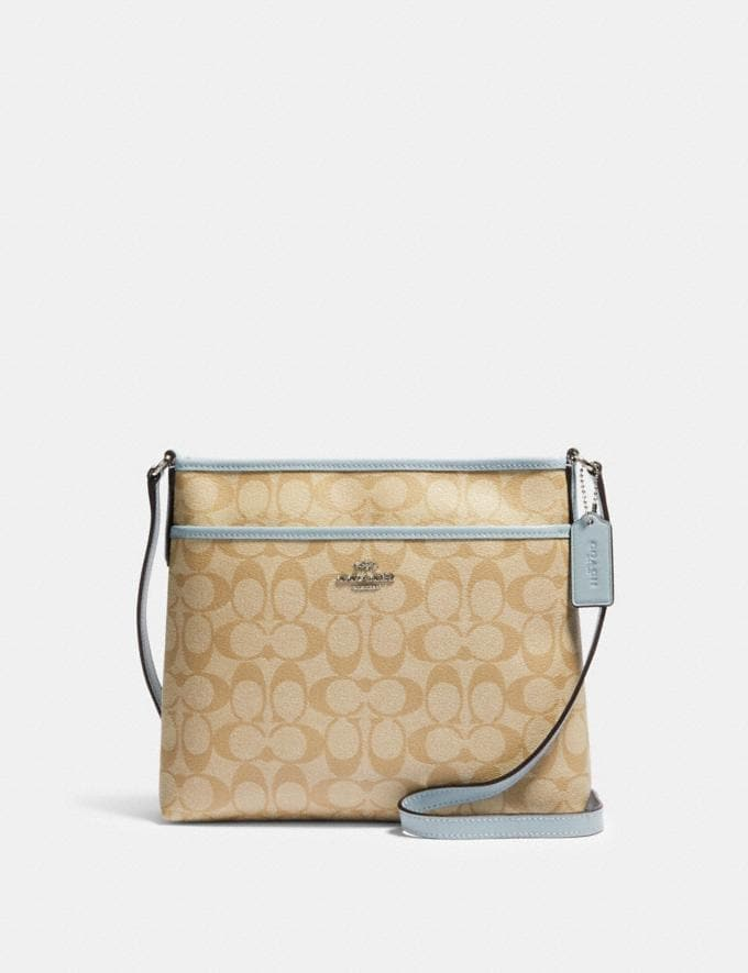 Coach File Crossbody in Signature Canvas Sv/Light Khaki Pale Blue Bags Bags Crossbody Bags