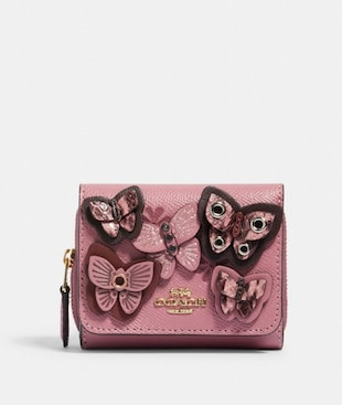 SMALL TRIFOLD WALLET WITH BUTTERFLY APPLIQUE