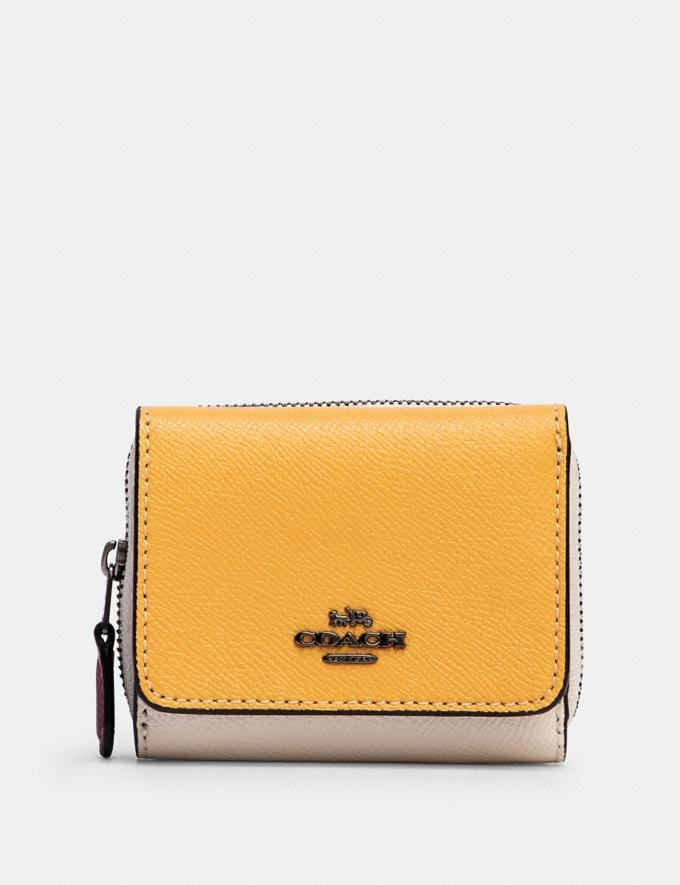 Coach Small Trifold Wallet in Colorblock Qb/Midnight/ Honey Multi Accessories Wallets