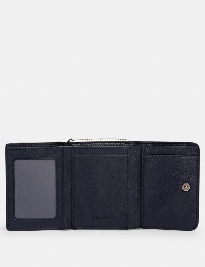 Coach Small Trifold Wallet in Colorblock Qb/Midnight/ Honey Multi Accessories Wallets Alternate View 1