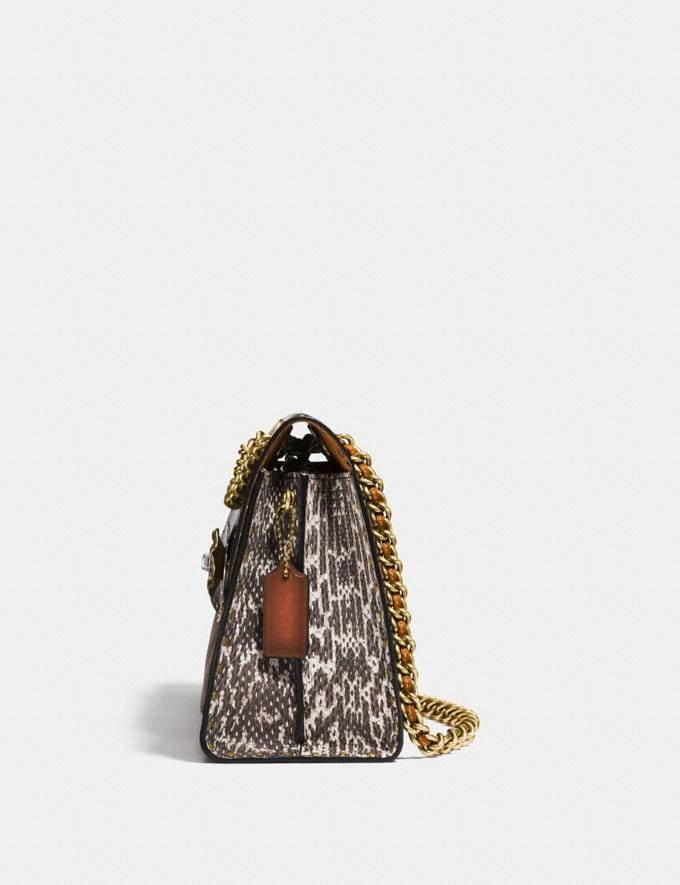Coach Parker With Rivets and Snakeskin Detail Black Copper/Beechwood Multi Women Bags Shoulder Bags Alternate View 1