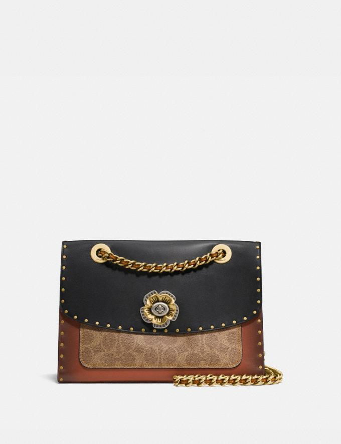 Coach Parker With Rivets and Snakeskin Detail Black Multi/Brass Personalise Personalise It Monogram For Her