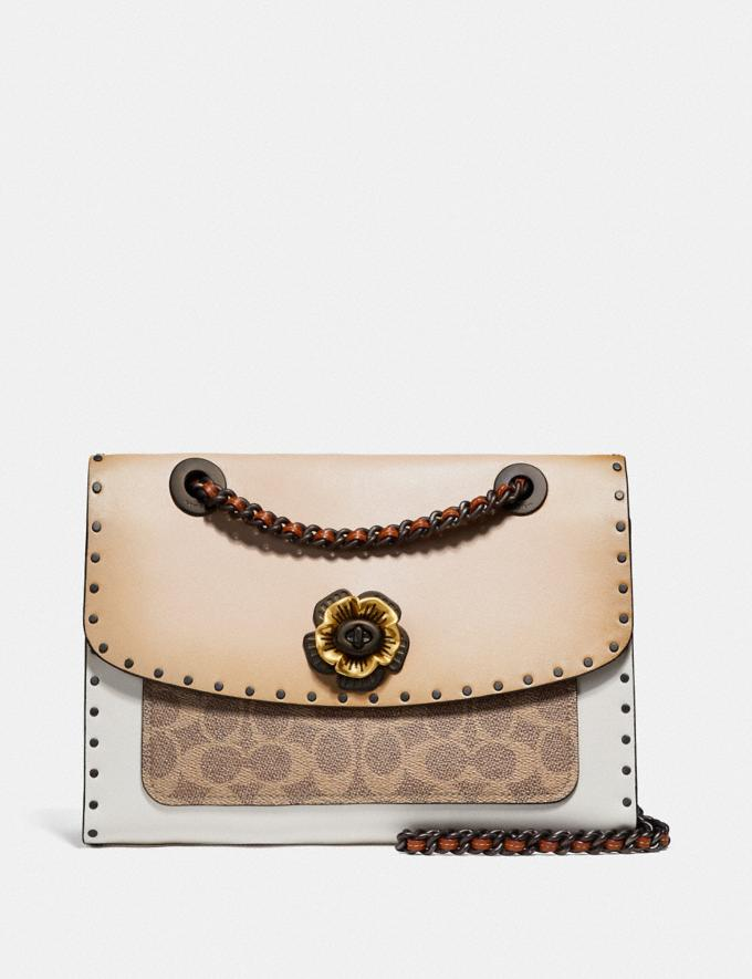 Coach Parker With Rivets and Snakeskin Detail Black Copper/Beechwood Multi Women Bags Shoulder Bags