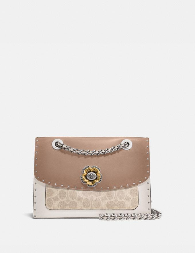 Coach Parker With Rivets and Snakeskin Detail Silver/Sand Taupe Multi New Featured Online Exclusives