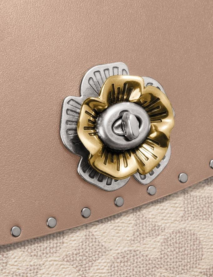 Coach Parker With Rivets and Snakeskin Detail Silver/Sand Taupe Multi Women Collection Signature Alternate View 4