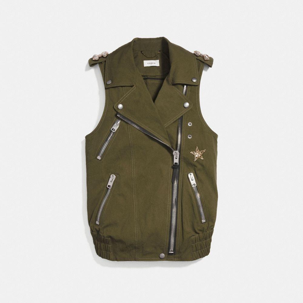 Coach Crystal Embellished Oversized Vest