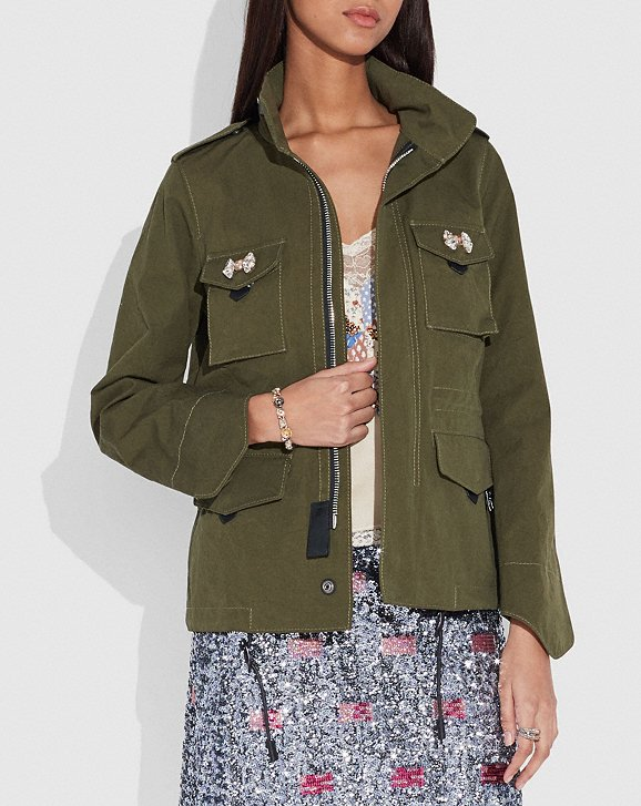 Coach Crystal Embellished M65 Jacket
