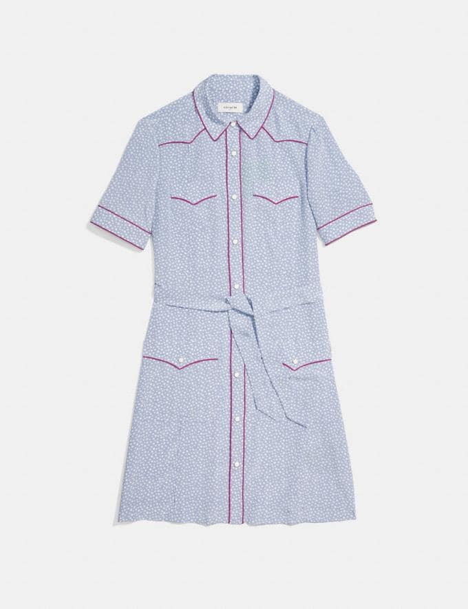 Coach Star Print Western Shirt Dress Blue/White