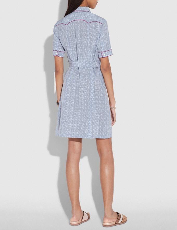 Coach Star Print Western Shirt Dress Blue/White  Alternate View 2